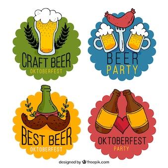 Colecção divertida de crachás de festa de cerveja