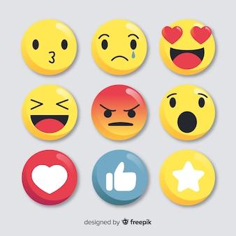 Colecção plana de reacção emoticon