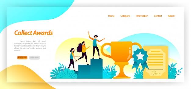 Colecione campeonatos como troféus de certificados e medalhas para as melhores vitórias e conquistas na corrida. modelo de página da página de destino