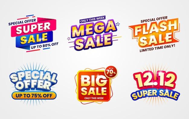 Coleções coloridas de banners de venda