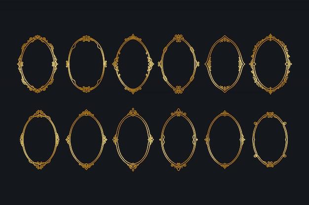 Coleções de bordas de quadros dourados vintage