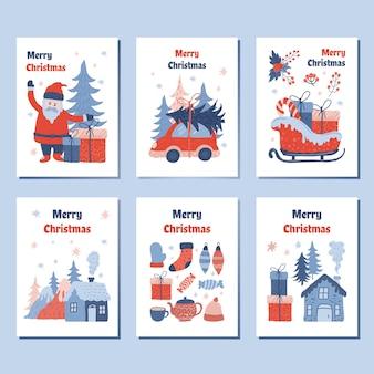 Coleções de cartões de natal com adorável ilustração dos desenhos animados