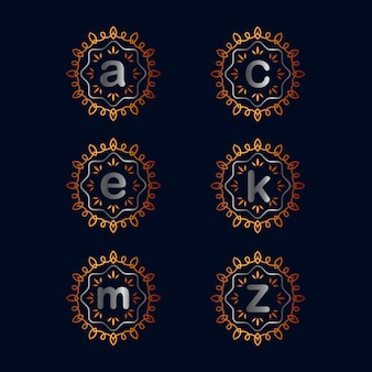 Coleções de design de logotipo vintage emblema alfabeto