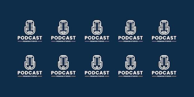 Coleções de design de logotipos de estúdio de podcast