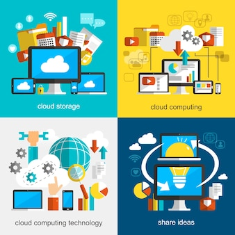 Coleções de design plano de tecnologia de nuvem com vários dispositivos