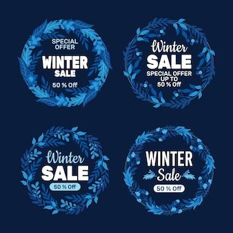 Coleções de etiquetas de promoção de inverno