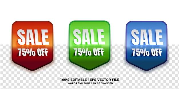 Coleções de etiquetas de venda realistas com efeito de texto editável em fundo transparente