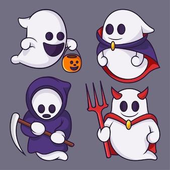 Coleções de fantasmas fofos desenhos animados de halloween