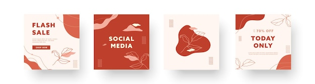 Coleções de fundos criativos abstratos. conjunto de modelos de design moderno de instagram mínimo para histórias de mídia social de negócios com elementos bonitos. ilustração vetorial