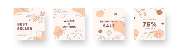Coleções de fundos criativos abstratos. conjunto de modelos de design moderno mínimo para histórias de mídia social de negócios com elementos bonitos. ilustração vetorial.