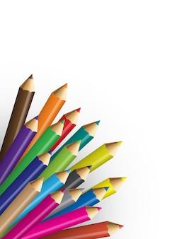 Coleções de lápis de cor com backround branco