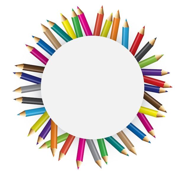 Coleções de lápis de cor no conceito circular
