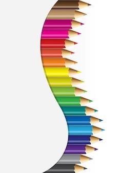 Coleções de lápis de cor no conceito curvo
