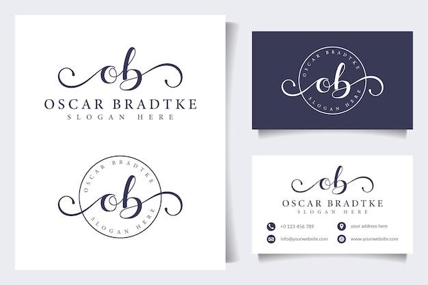 Coleções de logotipo de beleza com modelo de cartão de visita