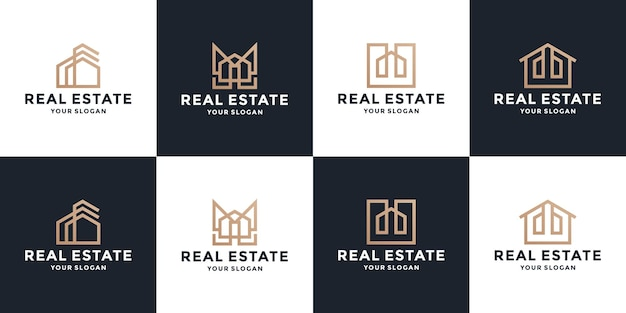Coleções de logotipo dourado de imóveis