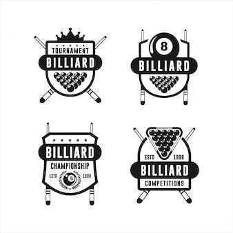 Coleções de logotipos de design de torneios de bilhar