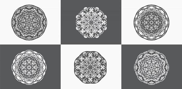Coleções de mandalas ornamentais em preto e branco