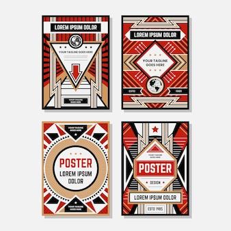 Coleções de modelo de design de cartaz de propaganda colorida