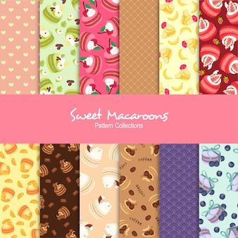 Coleções de padrão de macaroons doces