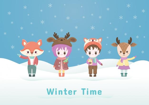 Coleções de personagem de desenho animado de natal na ilustração de inverno com floco de neve.