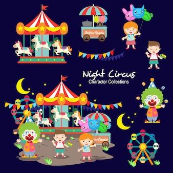 Coleções de personagens de circo noturno