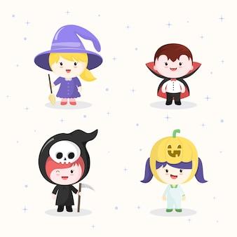 Coleções de personagens kawaii em trajes de halloween.