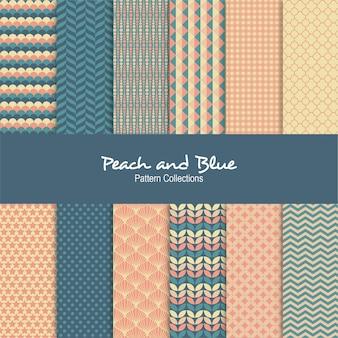 Coleções de pêssego e padrão azul