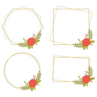 Coleções de quadros florais geométricos de casamento do vintage