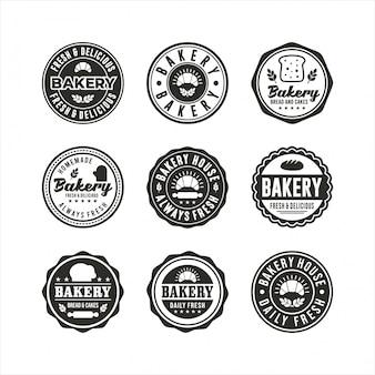 Coleções de selos de logotipos de crachá de padaria