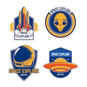 Coleções emblema espaço vintage