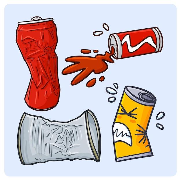 Coleções engraçadas de latas de bebidas quebradas em estilo simples de doodle