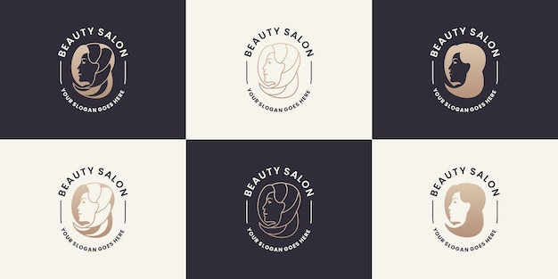 Coleções femininas de design de logotipos para salão de beleza, spa, ioga, cosméticos