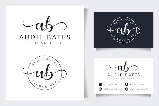 Coleções iniciais de logotipo ab com modelo de cartão de visita
