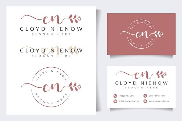 Coleções iniciais de logotipo feminino cn com modelo de cartão de visita
