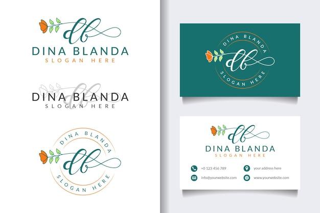 Coleções iniciais de logotipo feminino db com modelo de cartão de visita