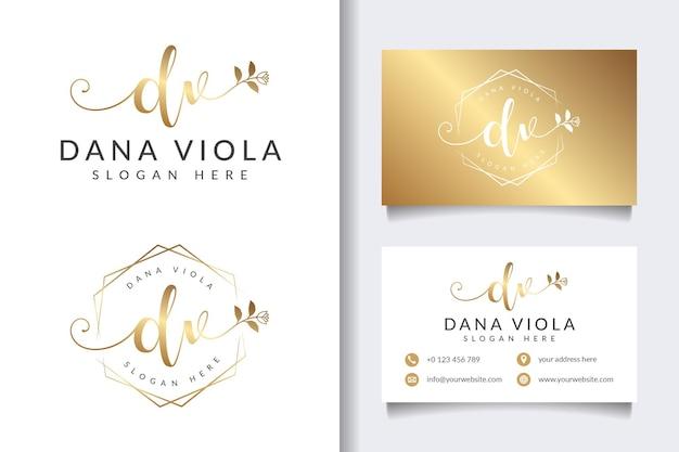 Coleções iniciais de logotipo feminino dv com modelo de cartão de visita