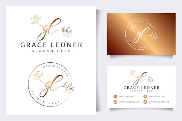 Coleções iniciais de logotipo feminino gl com modelo de cartão de visita