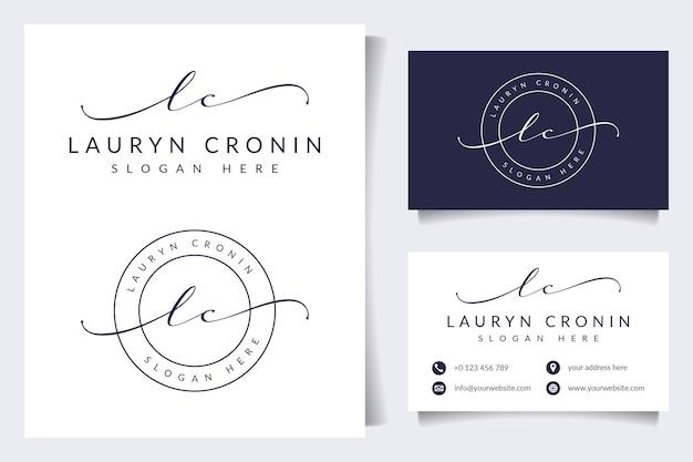 Coleções iniciais de logotipo feminino lc com modelo de cartão de visita