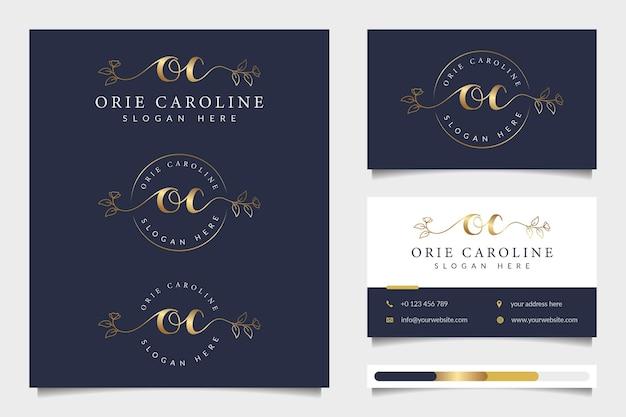 Coleções iniciais de logotipo feminino oc com modelo de cartão de visita