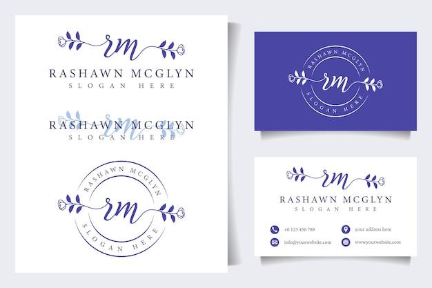 Coleções iniciais de logotipo feminino rm com modelo de cartão de visita