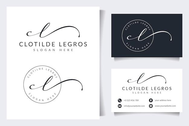 Coleções iniciais do logotipo cl com modelo de cartão de visita