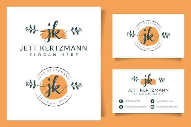 Coleções iniciais do logotipo da jk com modelo de cartão de visita