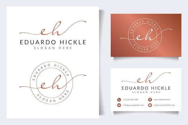 Coleções iniciais do logotipo eh com modelo de cartão de visita
