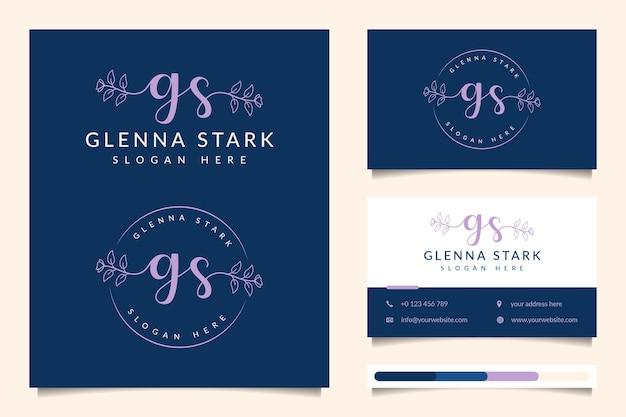 Coleções iniciais do logotipo feminino gs com modelo de cartão de visita
