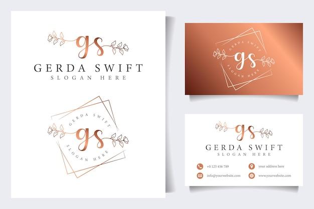Coleções iniciais do logotipo gs feminino com modelo de cartão de visita