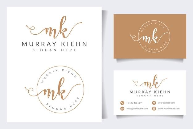 Coleções iniciais do logotipo mk com modelo de cartão de visita