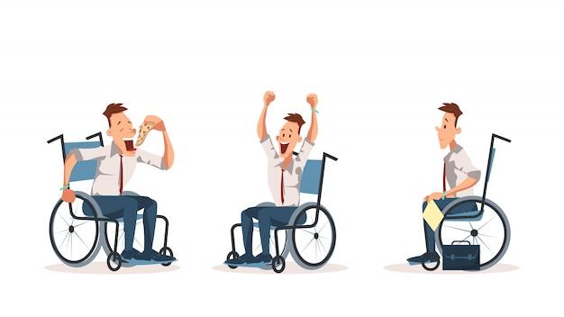 Colega de trabalho com deficiência em cadeira de rodas express emotion set