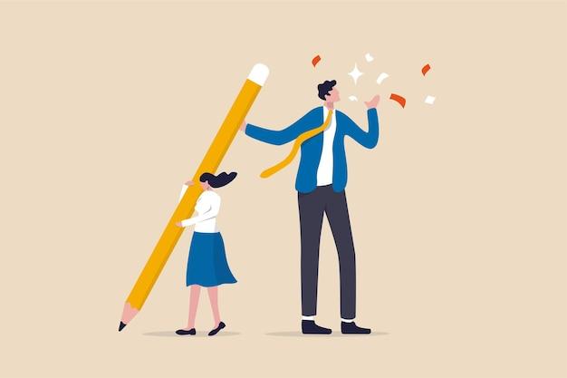 Colega de trabalho ou chefe leva crédito pelo seu trabalho desonestidade roubando ideia ou conceito de plágio