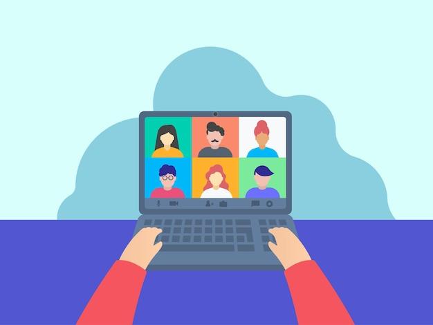 Colegas conversam entre si por meio de videochamada, aula online. trabalhando em casa.
