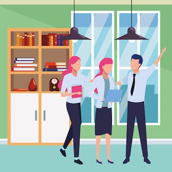 Colegas de negócios com material de escritório